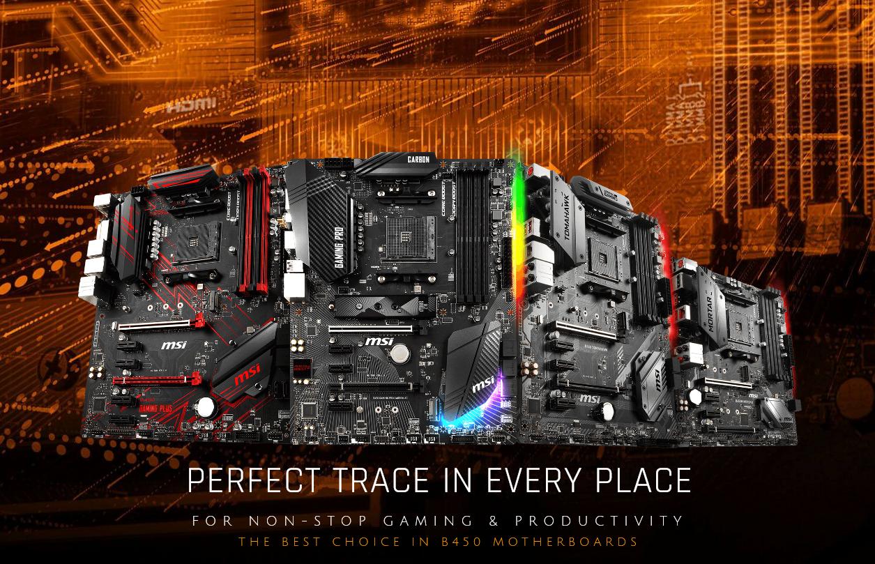 شركة MSI تطلق لوحات B450 لمعالجات AMD الجديدة - Darktech